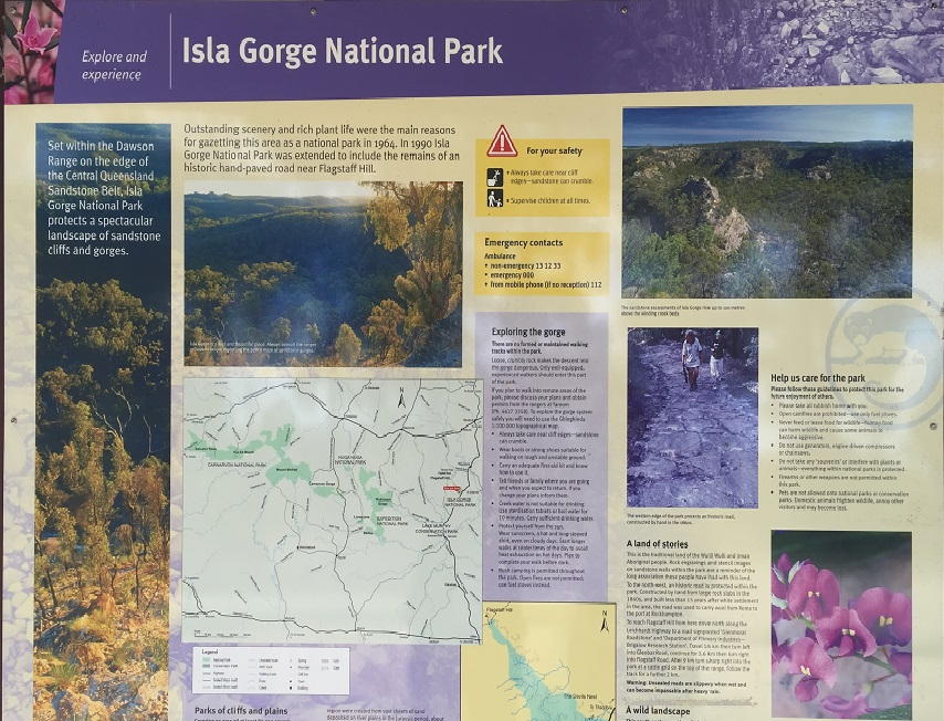 Isla Gorge information board.
