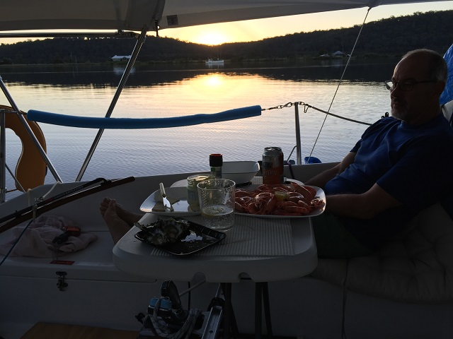 A wee snack at sunset, Maclean.