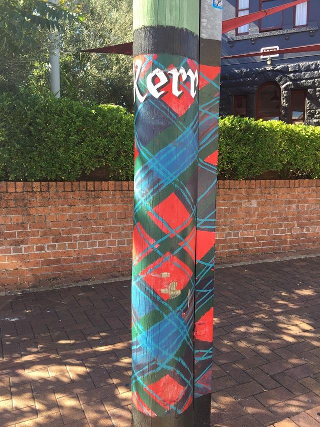 One of 200 tartan painted poles in Maclean.
