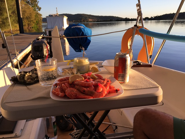 Sundowners on the Clarence at Maclean. Local prawns - from the many trawlers we've seen on the river.