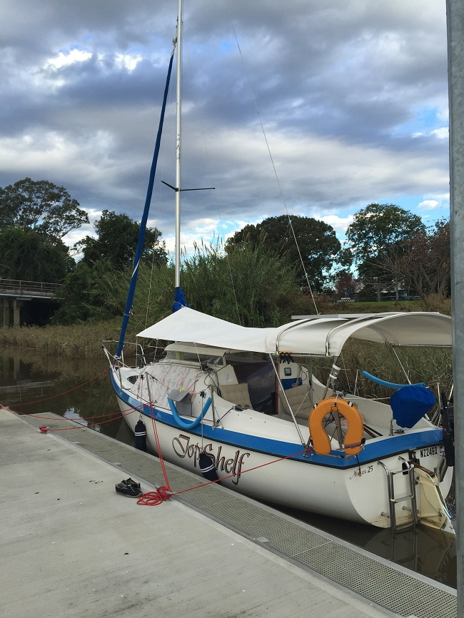 Tied up on the Cowper/Brushgrove pontoon