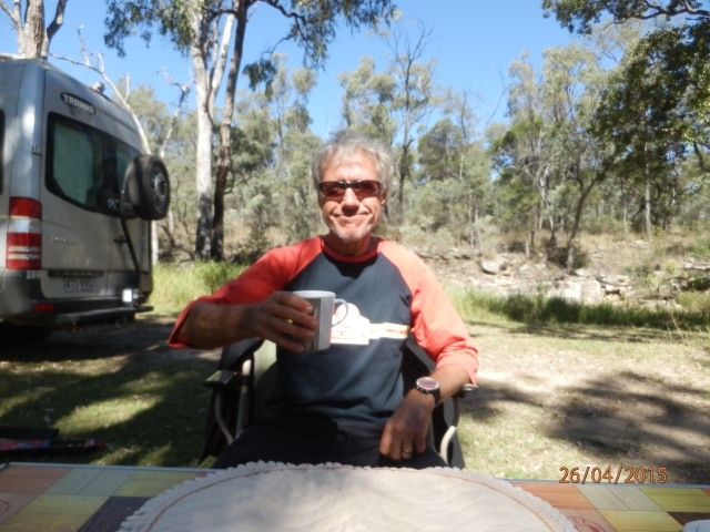 Bryan enjoys a well-earned cuppa following our strenuous morning.