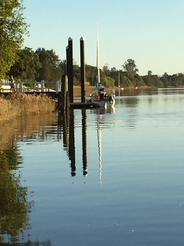 Looking upriver from the public boat ramp in Ulmarra.