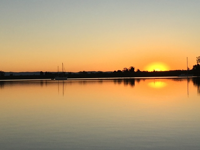 Sunset across the Clarence at Ulmarra.