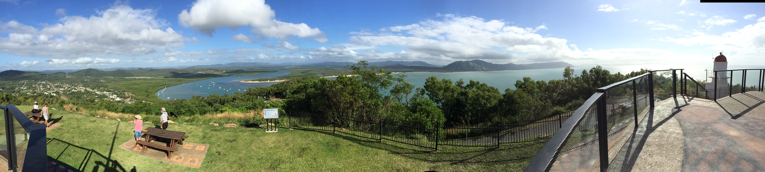 Panorama of Cooktown from Cooks Lookout. Cooktown is to the left, Mt Cook in the distance. Click on this photo to see it full size - it's worth it.