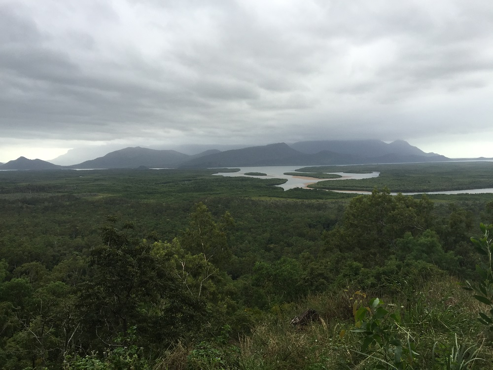 From a lookout north of Townsville. That's Hinchinbrook Is and the Hinchinbrook Passage. Maybe we'll sail it one day.