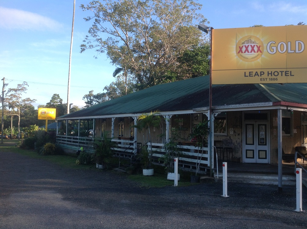 The Leap Hotel, outside Mackay. Our free camp was at the far end of the verandah.