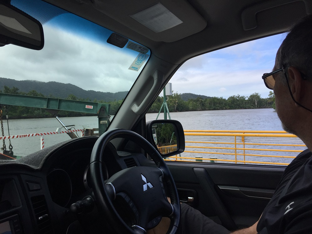 Steve on croc-watch as we crossed the Daintree River (by ferry).