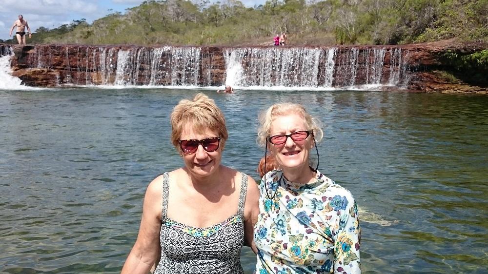 Two bathing beauties captured at Fruit Bat Falls.