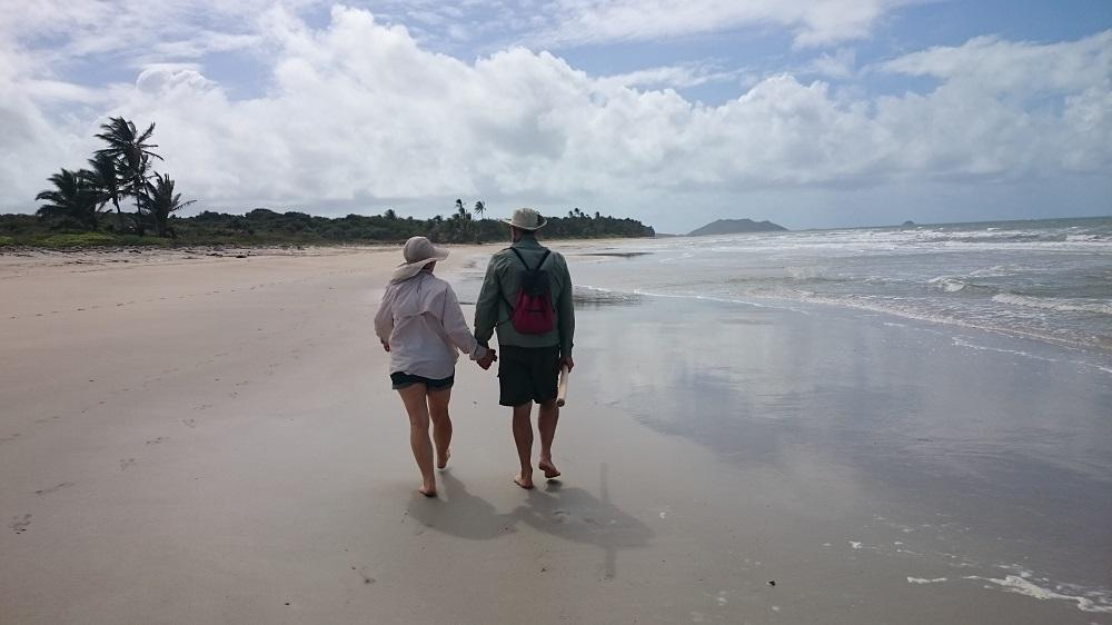 Enjoying walking Chilli Beach.