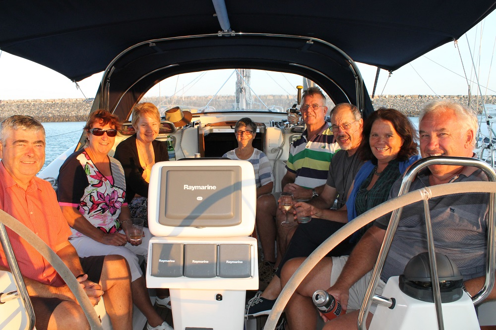 Sundowners on Wilparena with hosts Steve and Kim. and Mike and Carol from Mica, and Janet and Mark from Koonya.