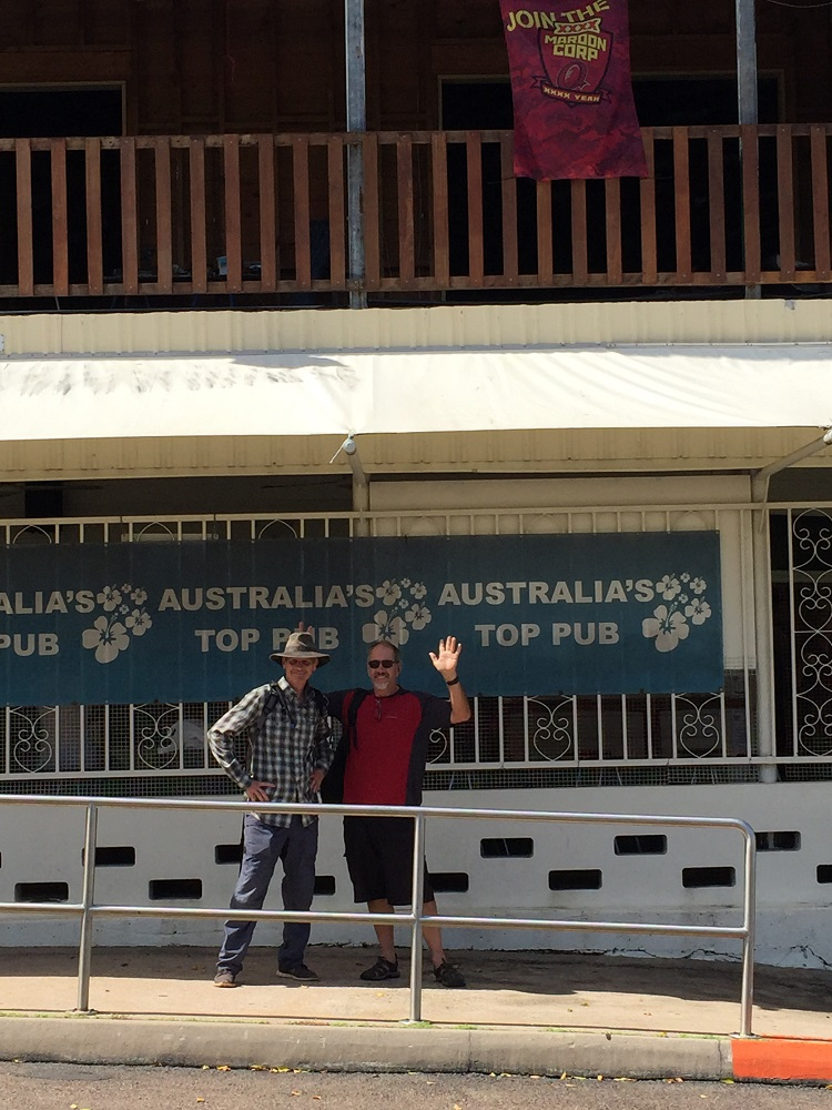The boys had to try out the beer at the most northerly pub in Australia.