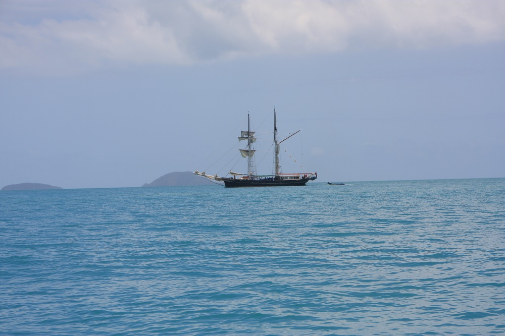 Some of the islands are exactly the same today as when Captain Cook first saw them, and this could be him now.