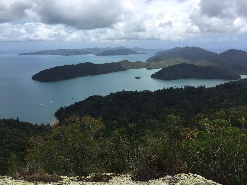 Dugong Inlet from Whitsunday Peak. Sawmill Beach to the bottom left.