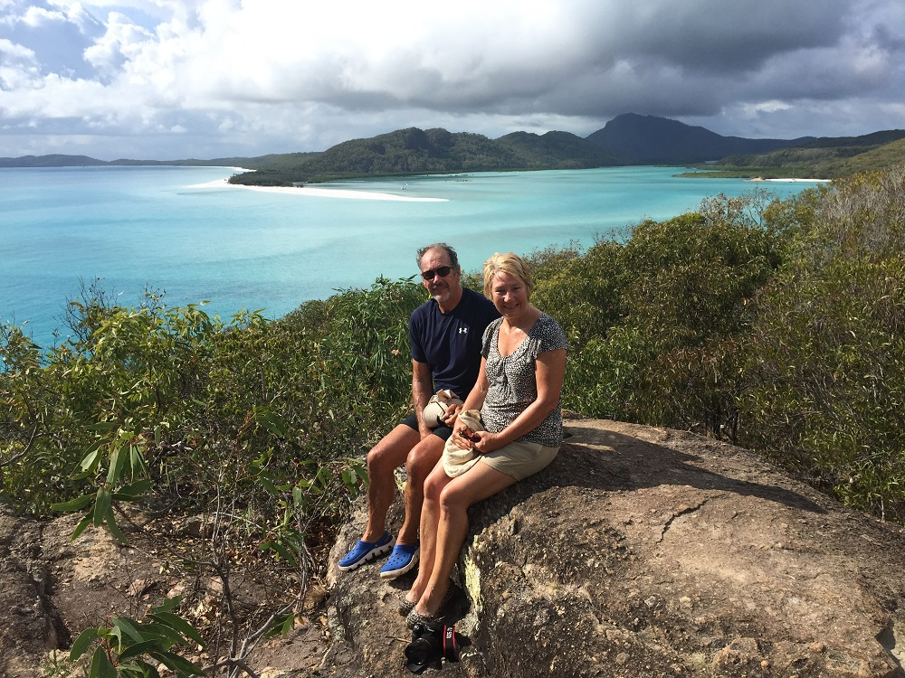 Selfie from lookout overlooking Hill Inlet and Whitehaven Beach.