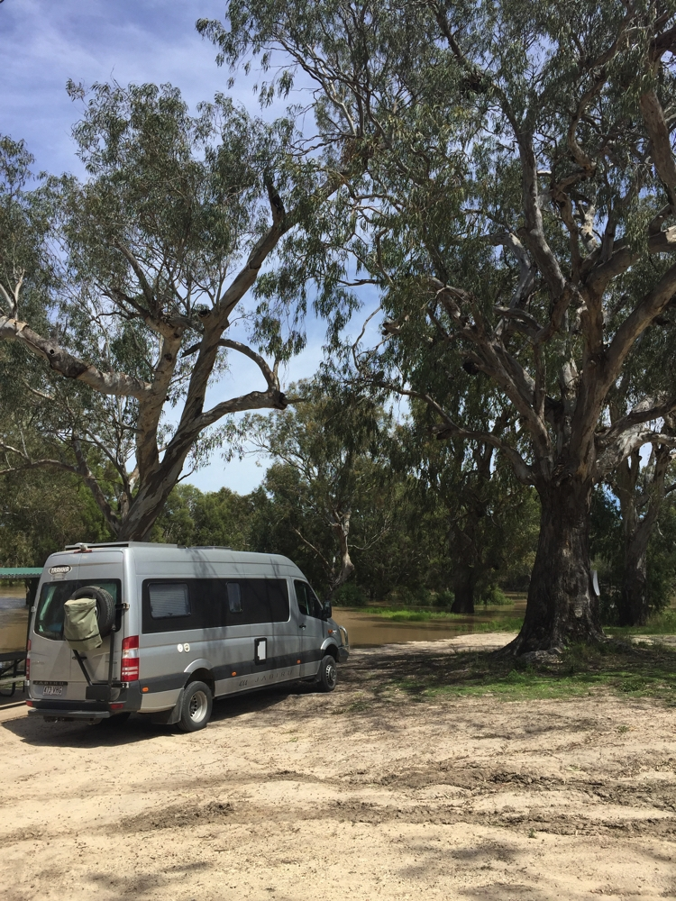 Taking a break by the flooded Barwon River at Mungindi.