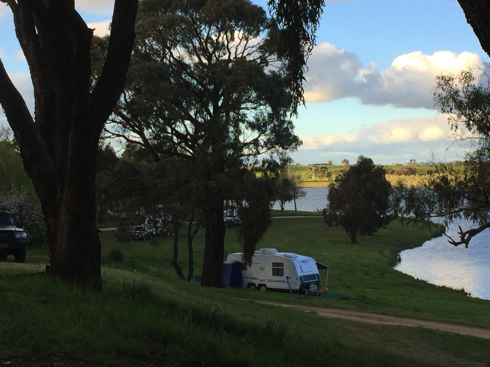The main camping area at Carcoar Dam. We were lucky to get our nice high spot away from everyone else, and level.