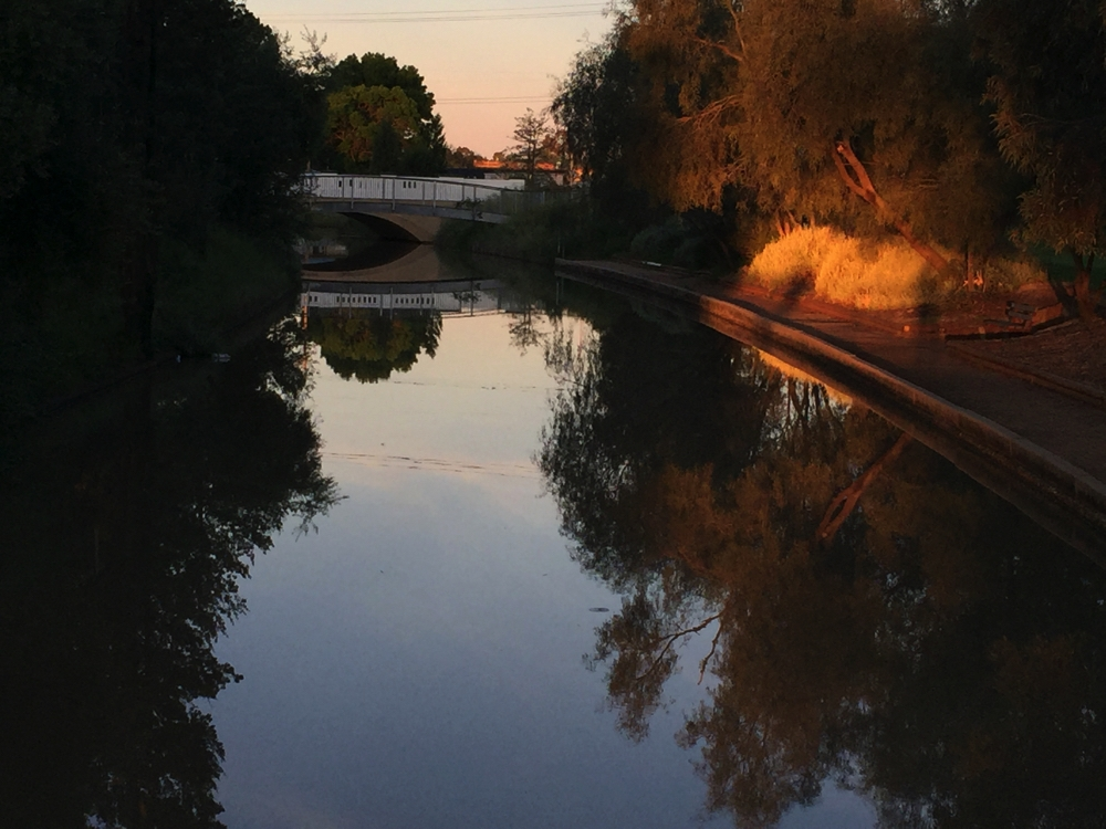 Sunset on the canal at Griffith.