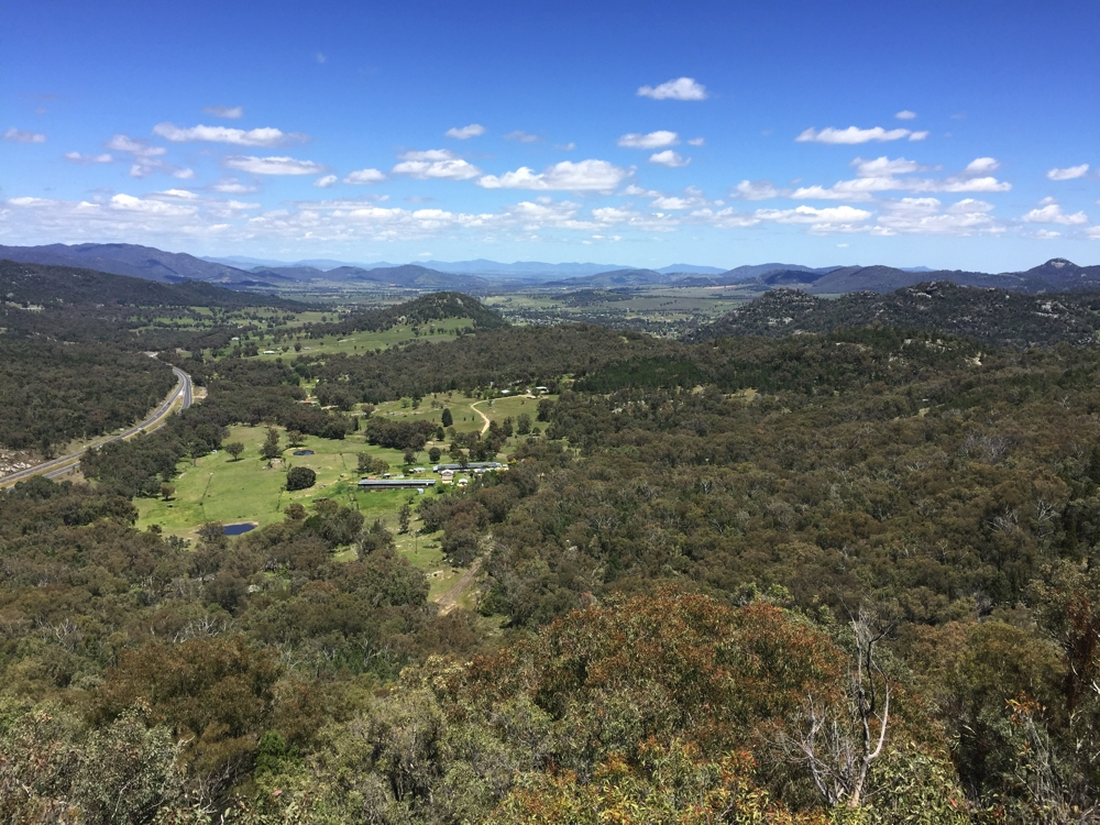 The view down the New England Highway towards Tamworth from Moonbi Hill Lookout.