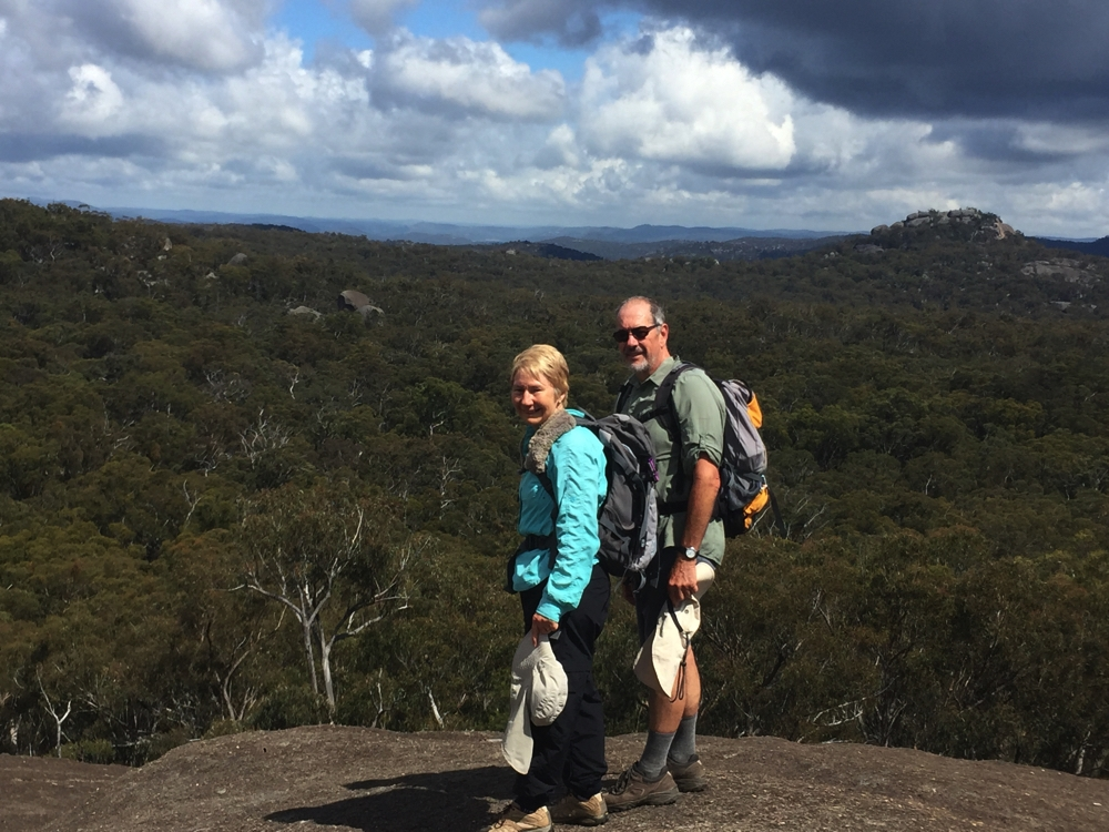 Admiring the view from the top of Mt Norman. Girraween.