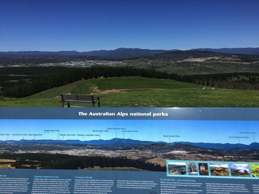 The view, above the sign. From Dairy Farmers Hill outside Canberra.