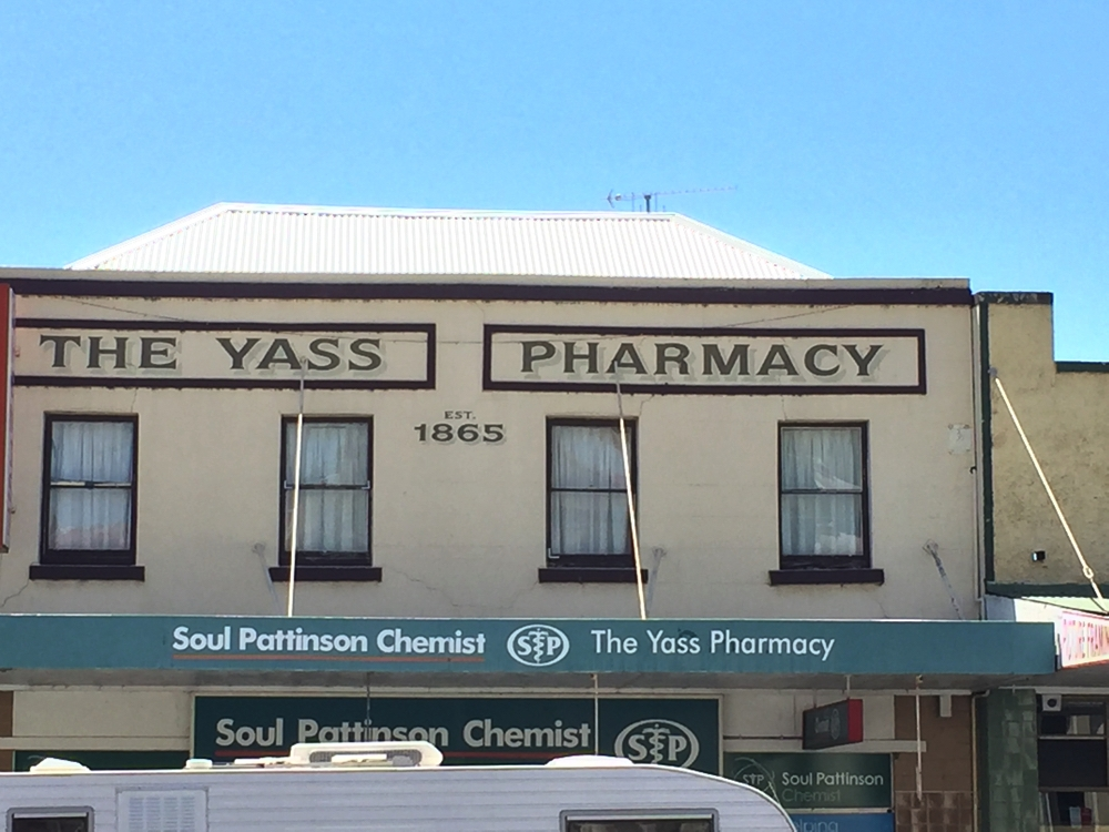 Yass has many old buildings it has preserved. This one doesn't appear to have changed its purpose since it was built. Todays pharmacy items would be unrecognisable in the eyes of the first pharmacist at this shop.