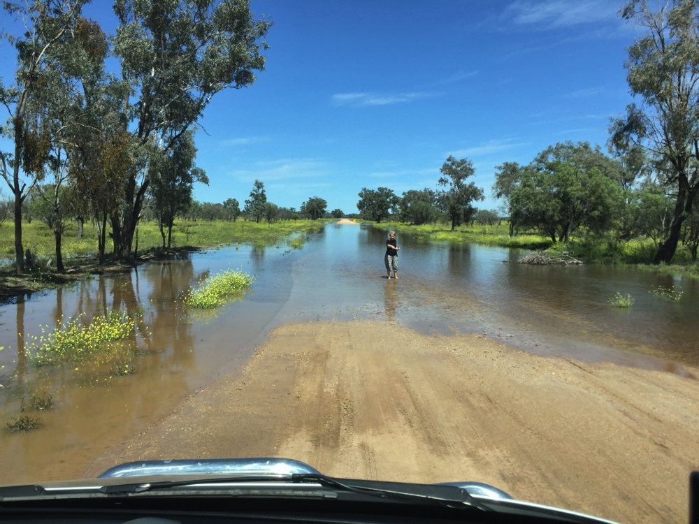 """""""This patch is firm."""" Guiding the driver through the flood waters."""