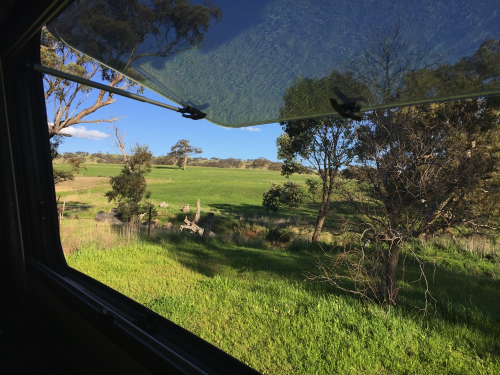 Not a bad view out the kitchen window. Our overnight campsite at The Black Stump.
