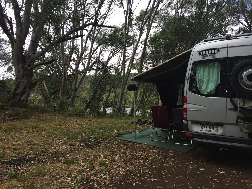 Our campsite at 3-mile dam.