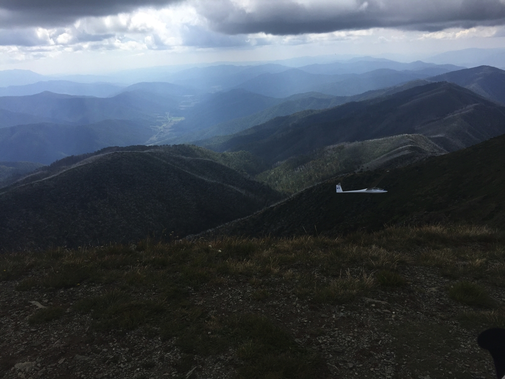 We're on the top of Mt Feathertop, and yes, that glider is lower than us, and no it's not landing.