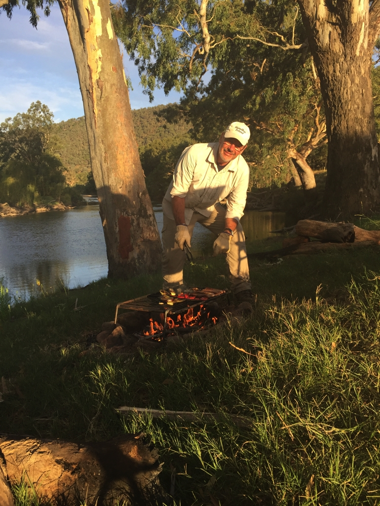 Dinner's cooking - beside the Murray at Gadds Bend.