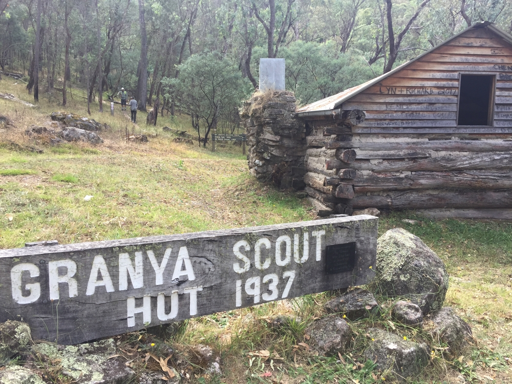 The restored Granya Scout Hall on the walk into Granya State Forest, just up from Cotton Tree campsite.