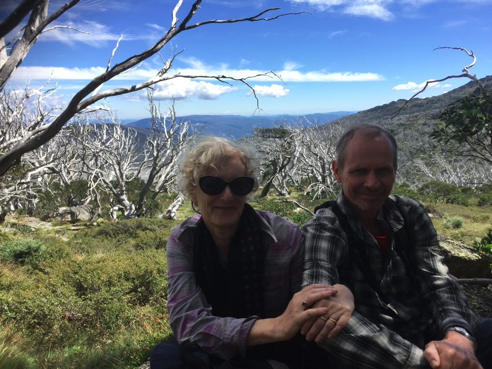 A forest of dead trees behind Ric and Gill on the Dead Horse Gap walk.