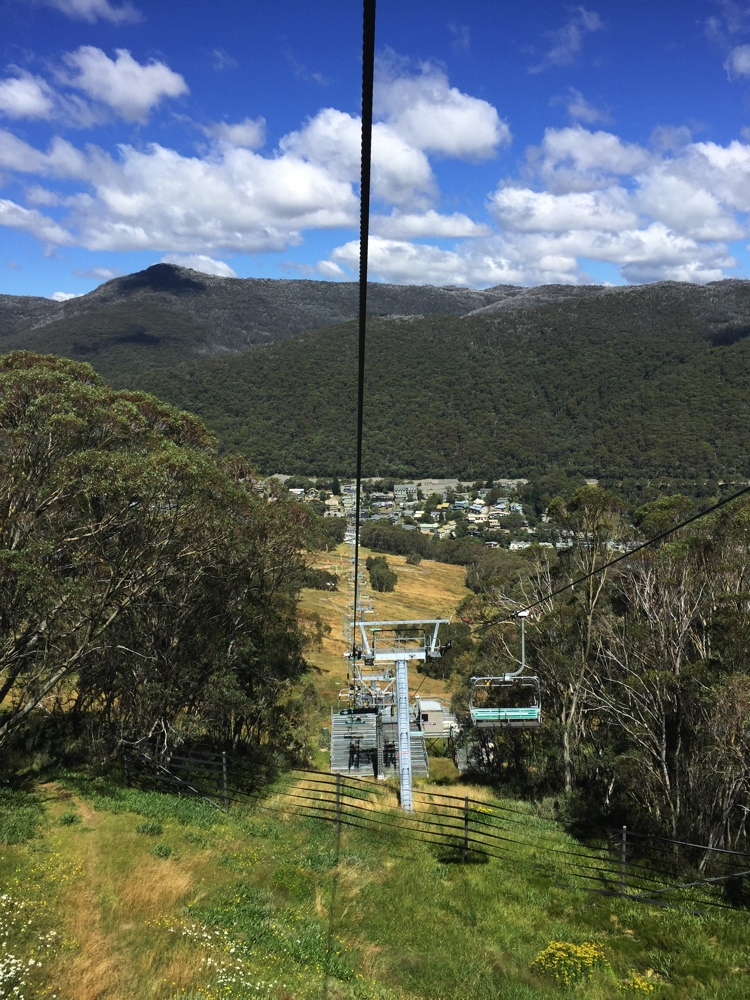 Descending the ski lift - Thredbo below.