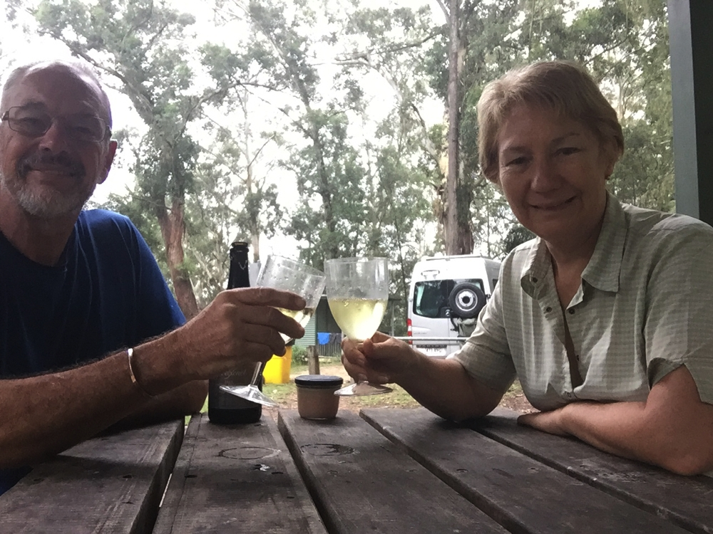 Celebrating the beginning of our coddywomple with a glass of champagne. Bangalow Campground, Watagans NP.