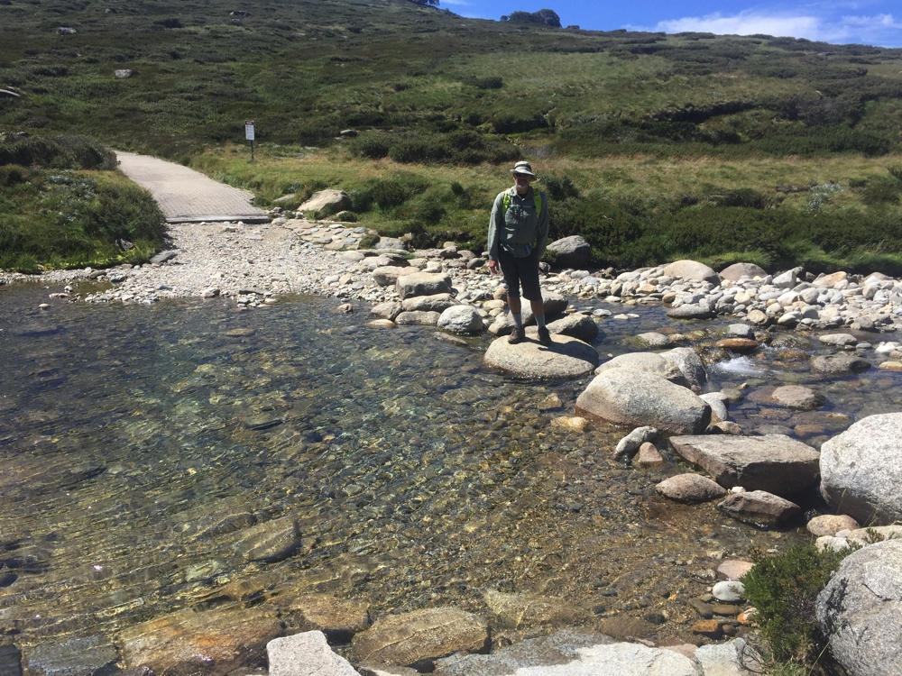 Crossing the Snowy River on the Main Range track.