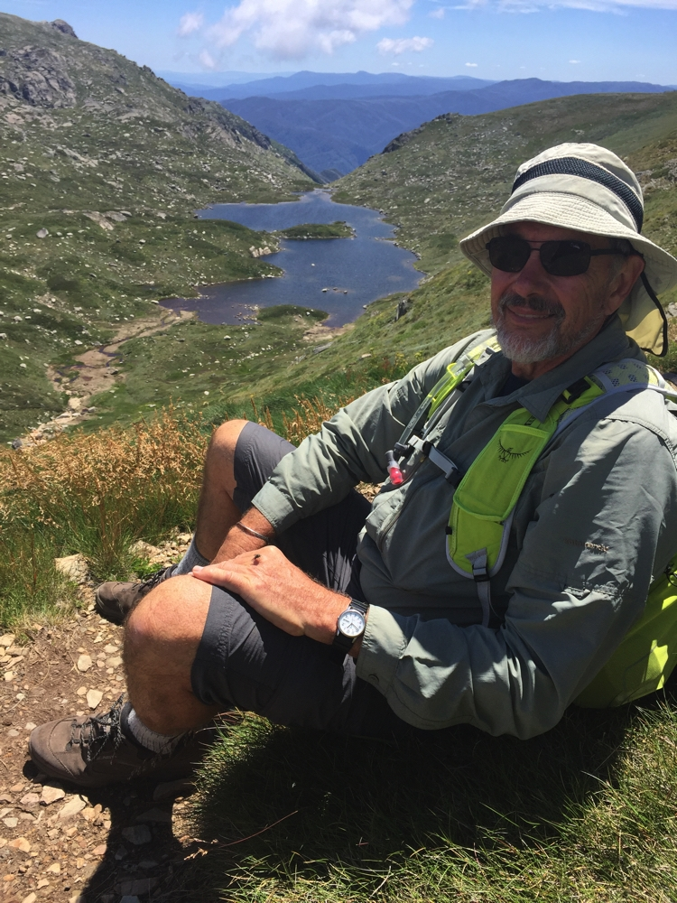 Having a break on the edge of the track overlooking Lake Alpina.