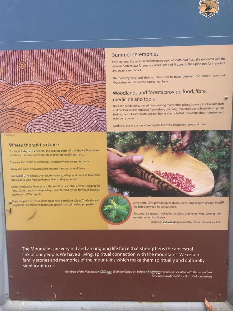 Aboriginal explanation of the Kosciuzsko region.