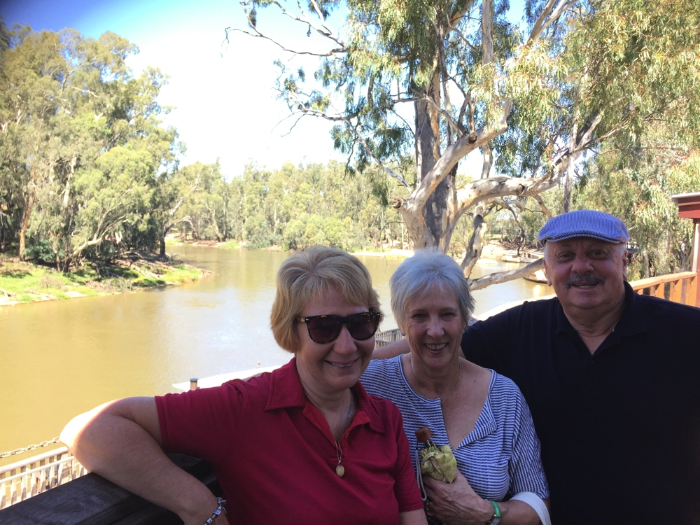 Relaxing by the Murray with Carl and Maree.