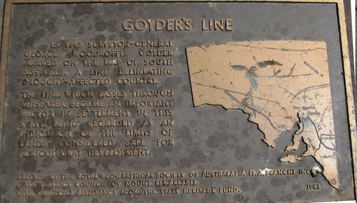 Unfortunately the map is a bit scratched, but if you look carefully you can see Goyders Line passing midway through Spencers Gulf and Eyre Peninsula. There's a lot of South Australia above the line!
