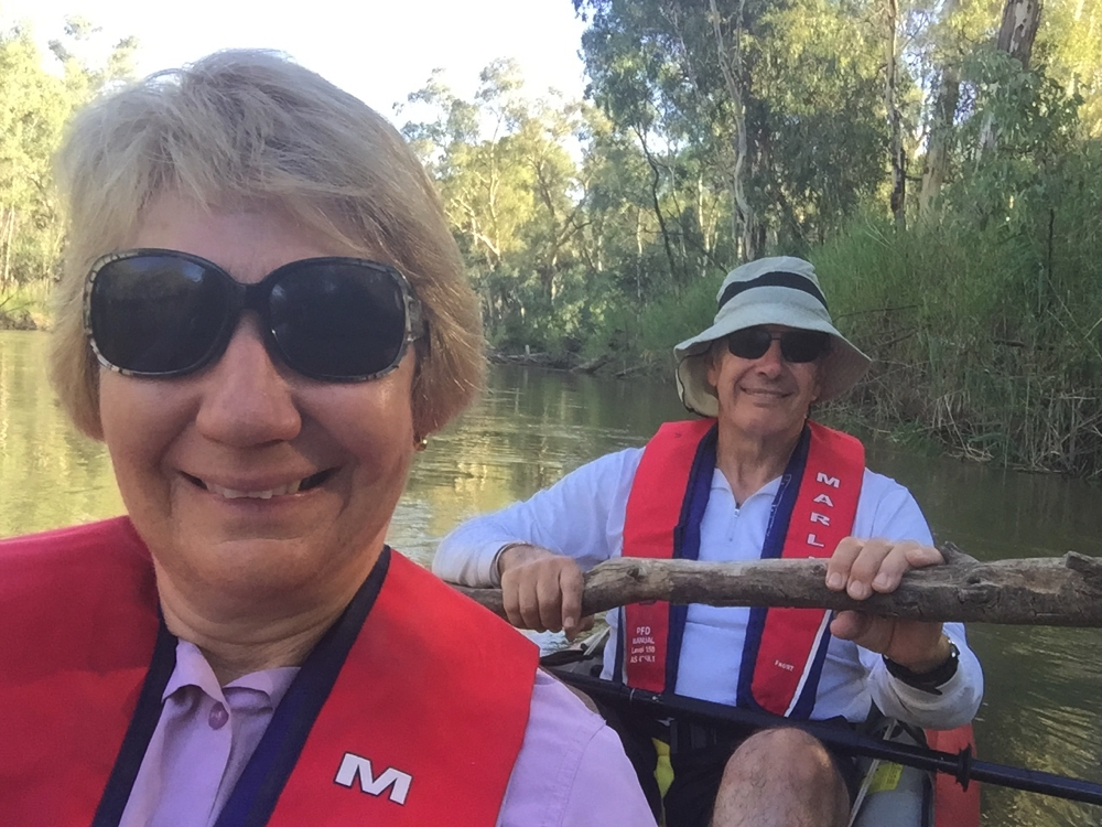 Getting better at selfies. And no Steve isn't paddling with a branch - just holding that so we don't get swept down the river while I take the photo. Murray River, Barmah National Park.