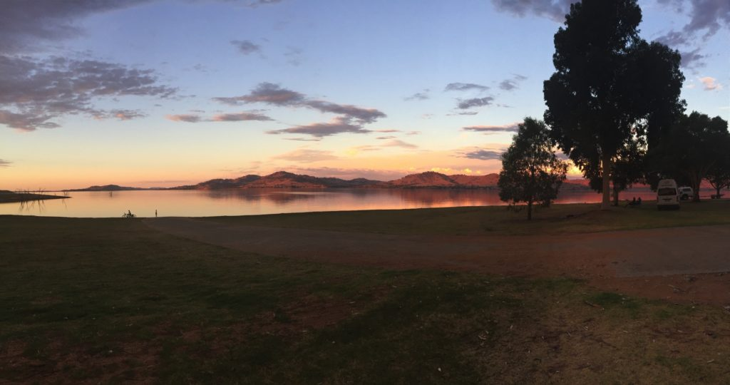 Sunset over Lake Hume, from our camp at Ludlows Reserve