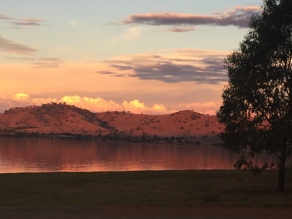 Sunset over Lake Hume, from our campsite.