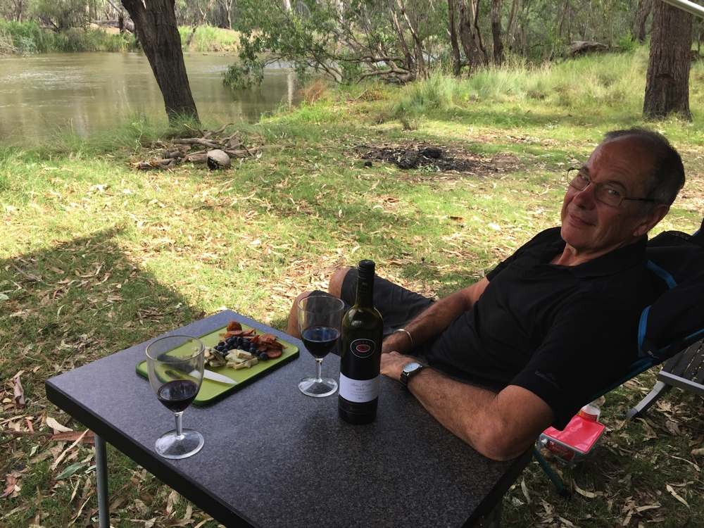 At Lumby's Bend on the Murray. Wine o'clock is all local produce, including the Durif from Rutherglen.
