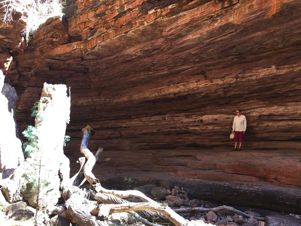 Steve standing against the red cliffs in Alligator Gorge, Mt Remarkable.