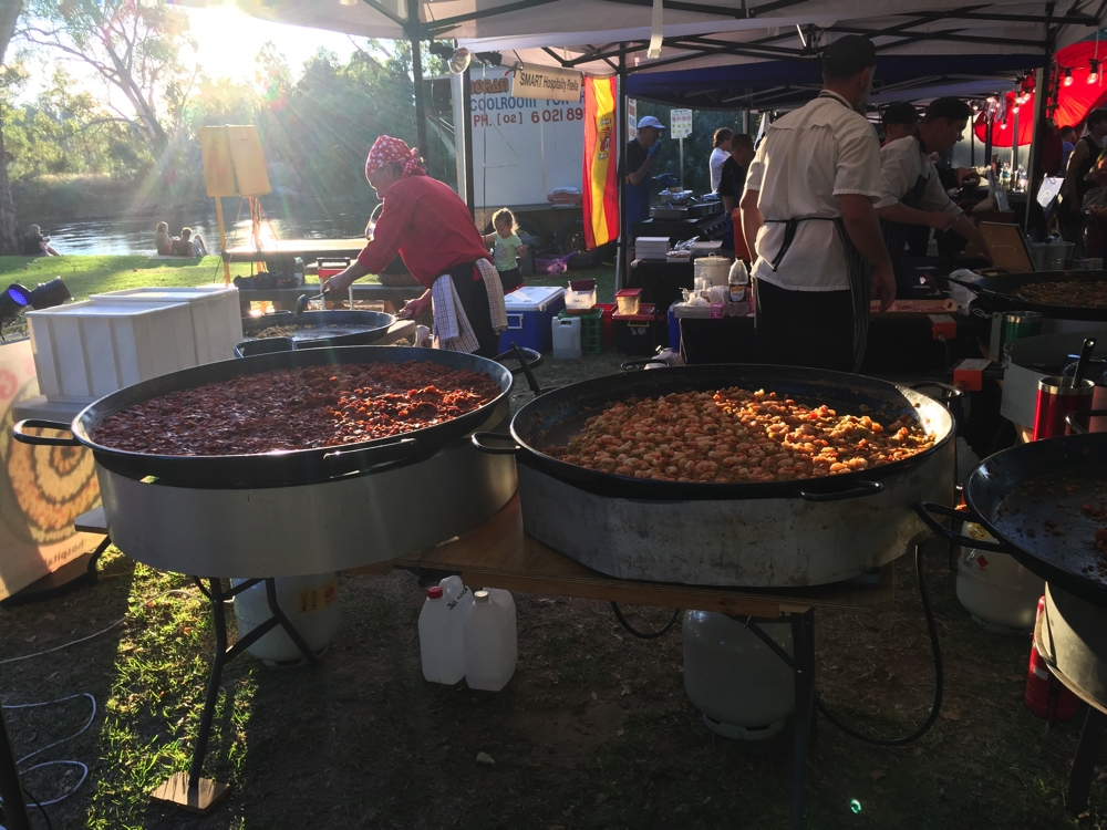 At the Cork and Fork Festival at Noreuil Park on the banks of the Murray. Paella!