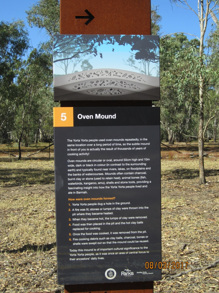 The mound behind was, as they say, 'subtle'. Interesting to see and to think of the history behind this spot. Barmah National Park