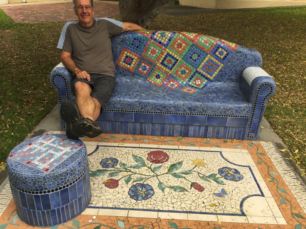 We were both amazed at the beauty of this public seat in Port Lincoln. It's completed decorated with tiles.