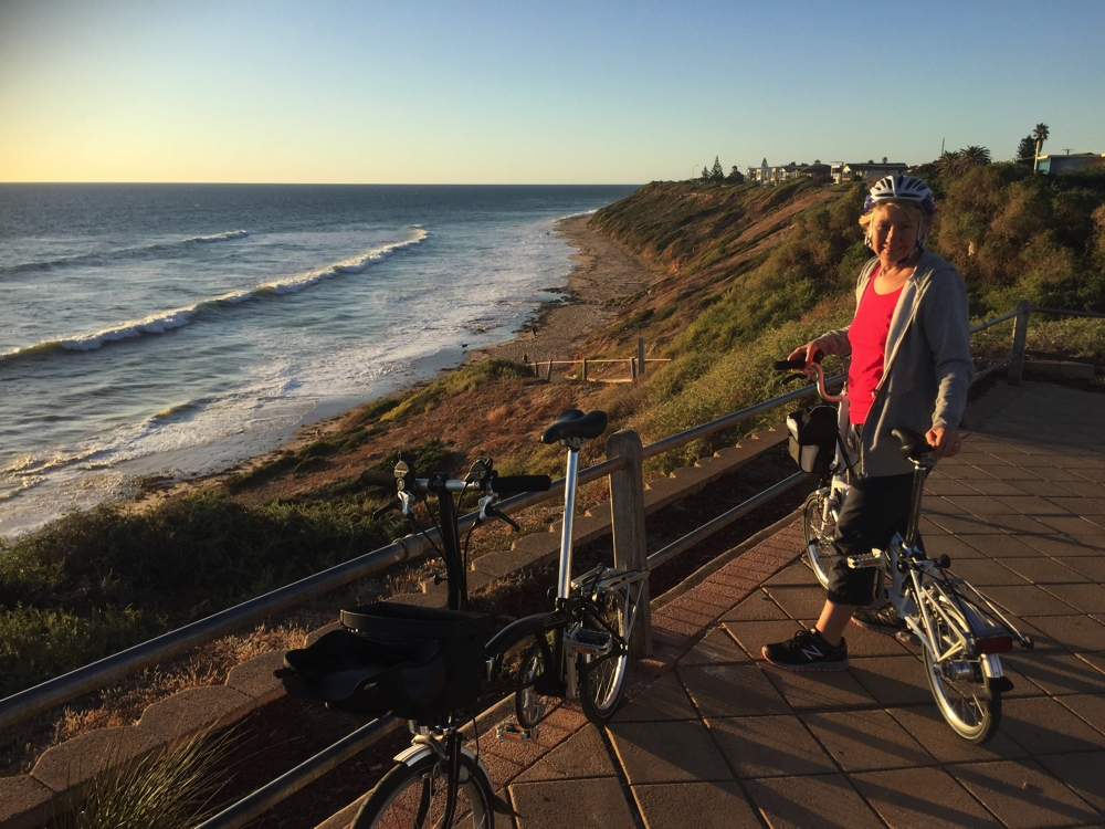 Late afternoon bike ride at Moana Beach.