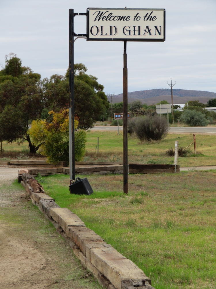 The Old Ghan railway station at Hawker. Note the lawn edging - sleepers from the original railway line.